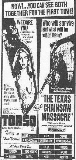Torso and Texas Chainsaw Massacre - A CLASSIC Horror Double Bill in The D